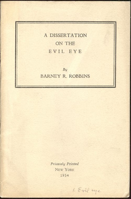 Barney Robbin's A Dissertation on the Evil Eye was headed to my category on
