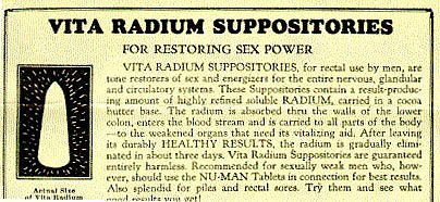 Radium--suppositories