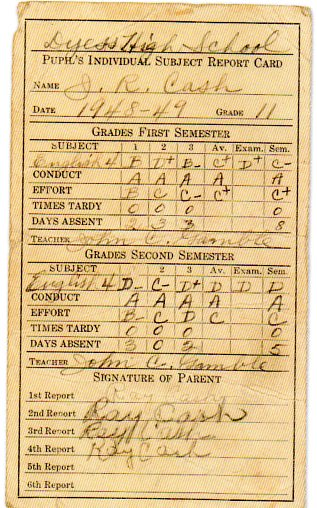 Johnny cash report card584