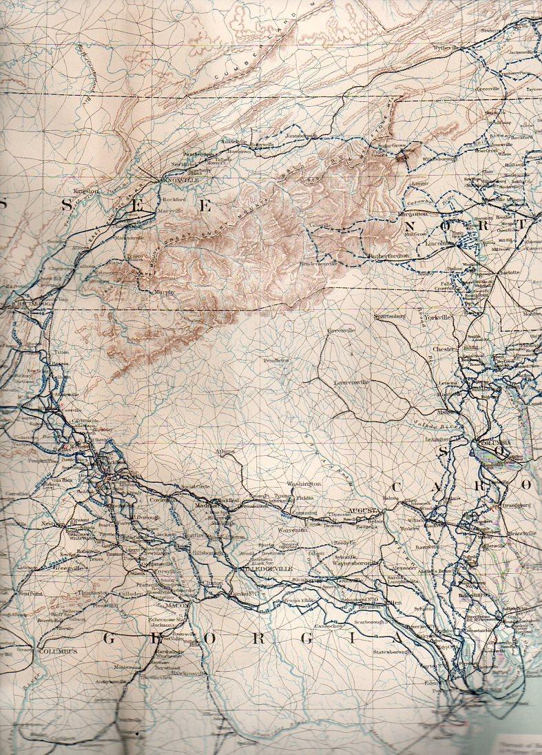 Civil war--mil map sherman asheville188