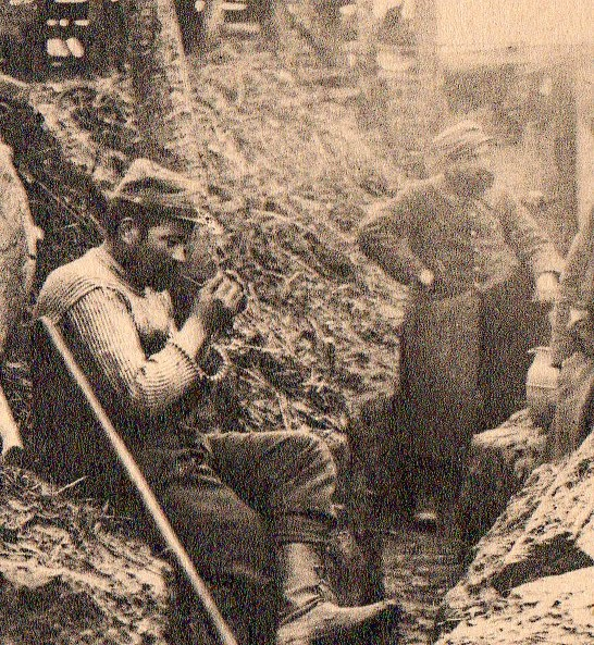 WWI photogravure--trench life det057