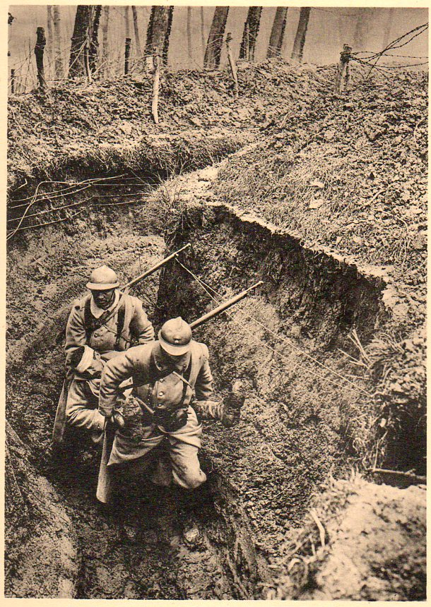WWI photogravure--trench wounded050