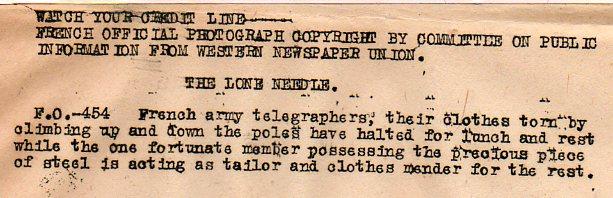 World War I photos--sewing in field txt300