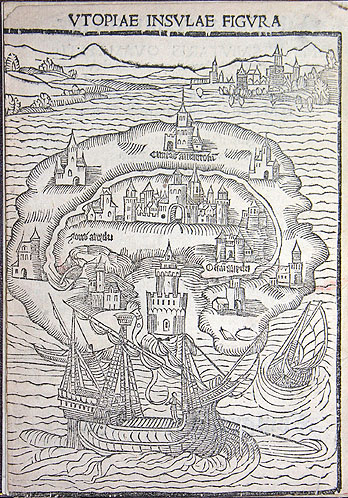 Maps imagniation More's utopia 1515
