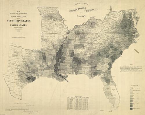 Map slavery US 1864