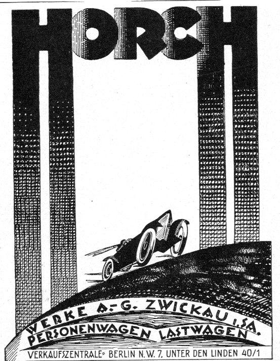 Anunci dibuixat de la marca alemanya de cotxes de principis del segle XX
