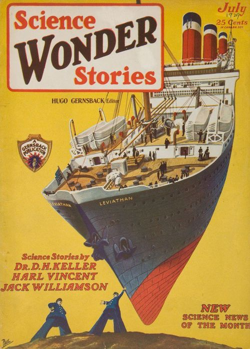 Science Wonder Stories ship in sky