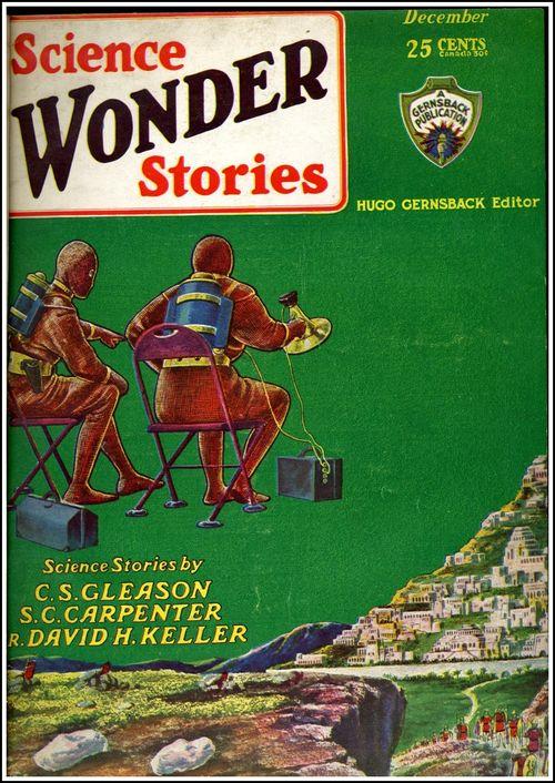 Science wonder stories seated floating