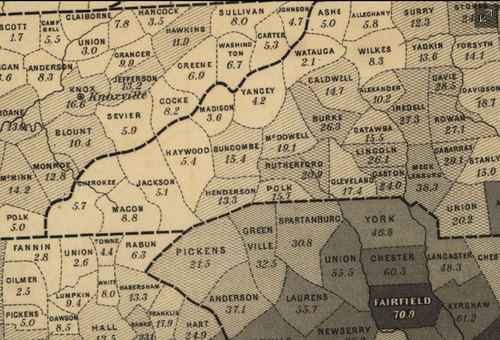 Map--slavery--detail of map