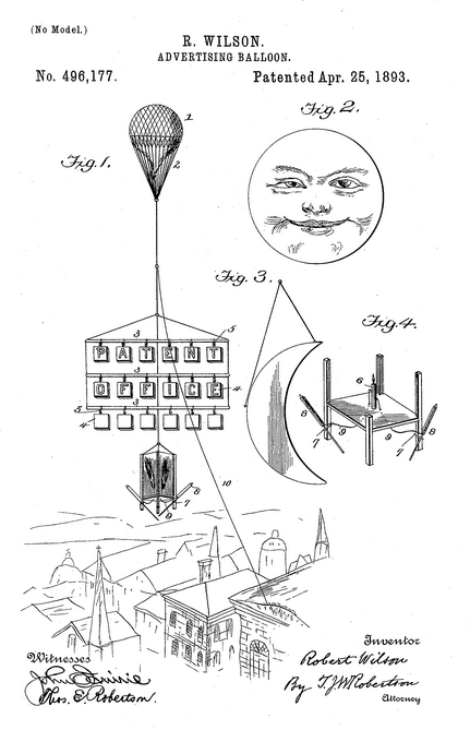 Patent balloon advertising 1893