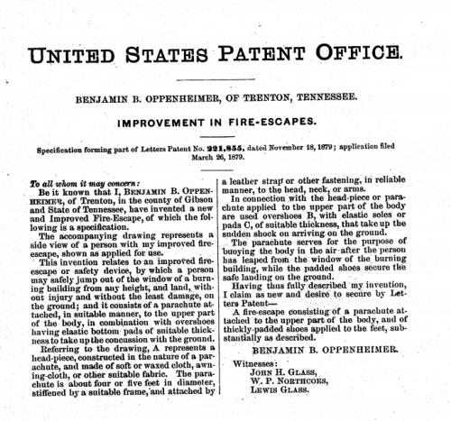 Patent parachute fires escape