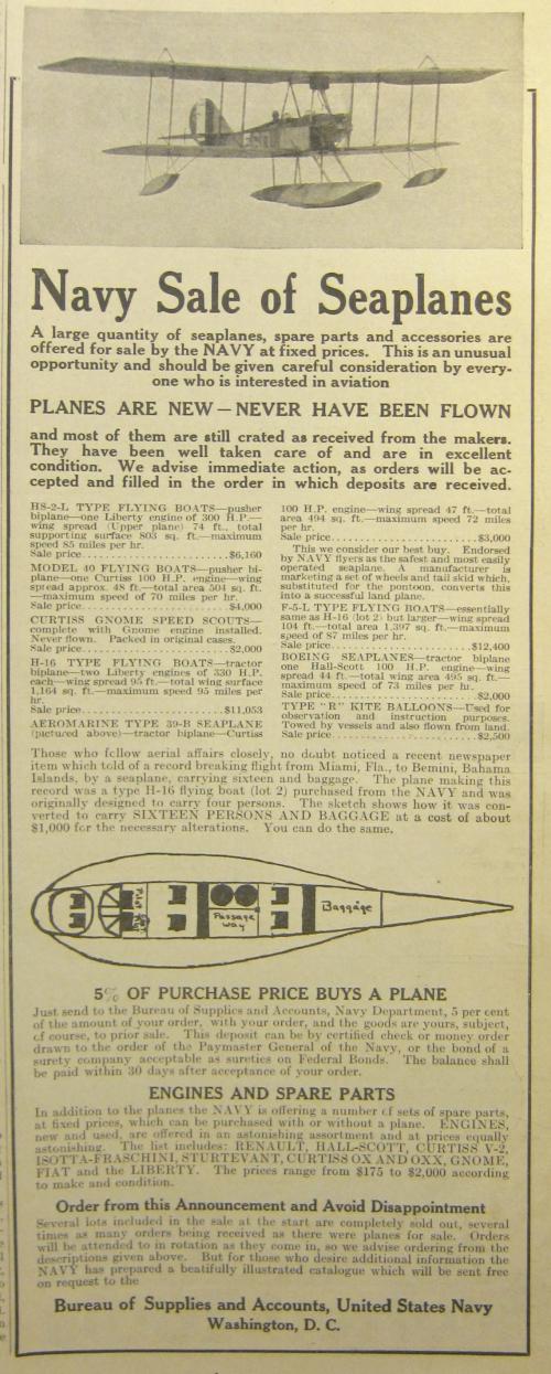 NAvy plane sale 1920