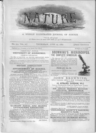Nature 1880 Crookes