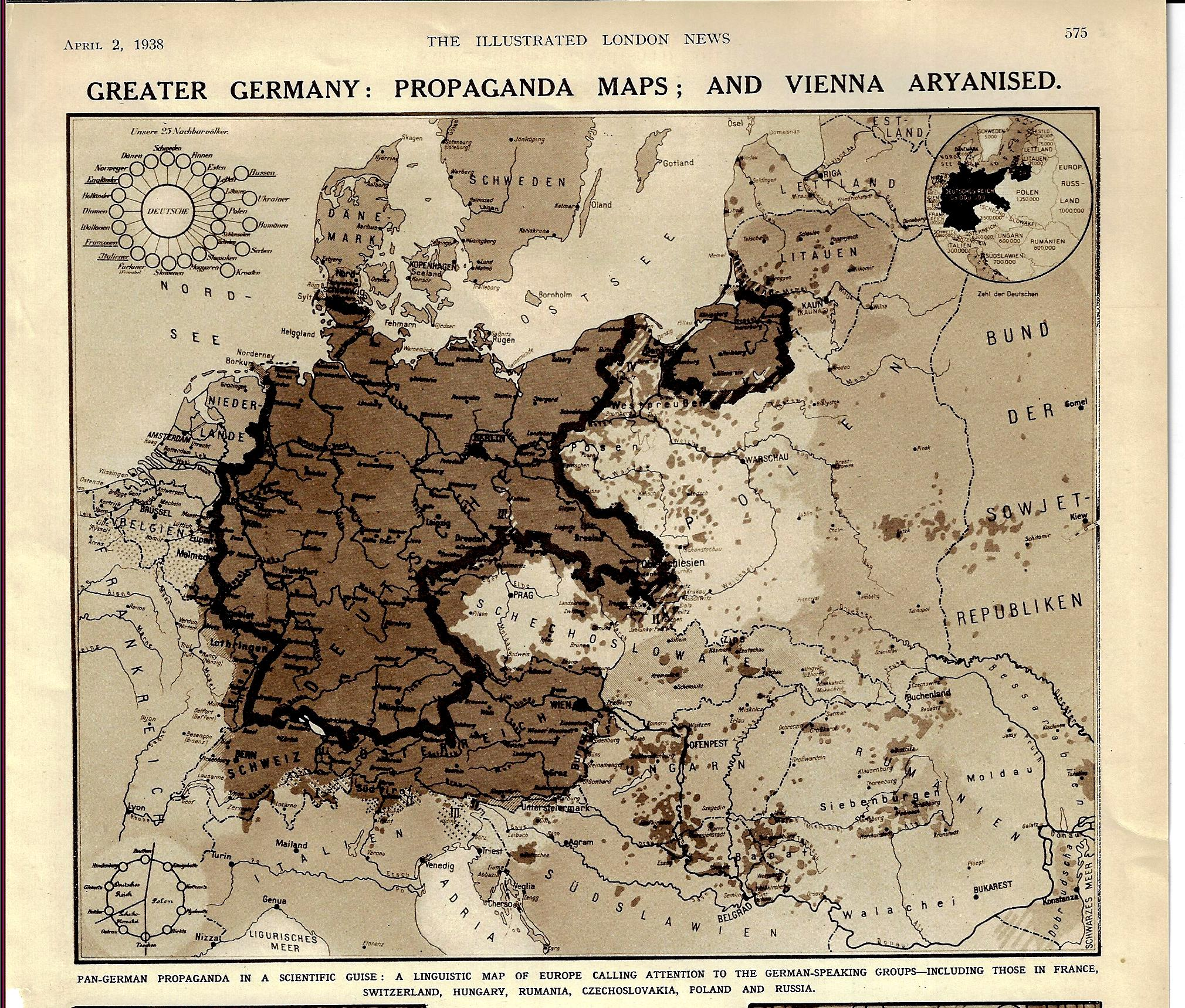 Map Of Germany 1938.Jf Ptak Science Books Propaganda Maps A Play For Greater
