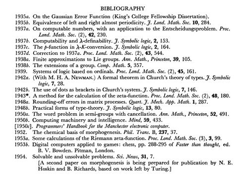 Bibliography Turing Roy Soc