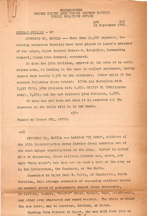 WWII--Japanese prinsoers surrender 23 Sept 1945150