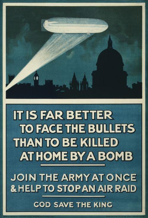Bombing zeppelin blue poster