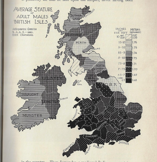 Maps average heights men British isles