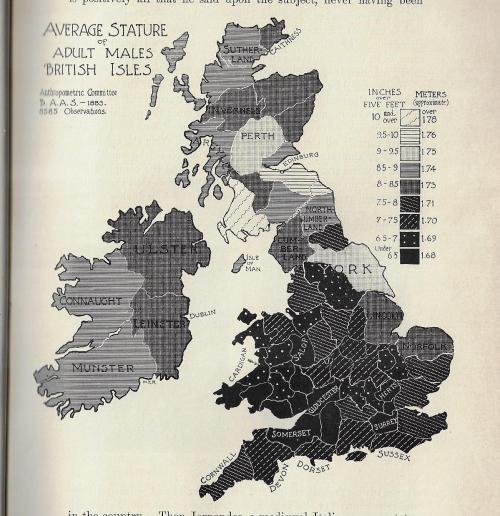 Maps average heights men British isles