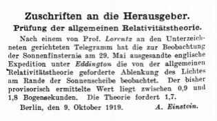 EInstein 1919