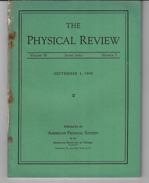 Phys Rev 1939 Oppenheimer Gravitational