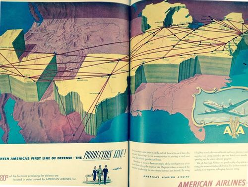 Map--air route, LIFE mag