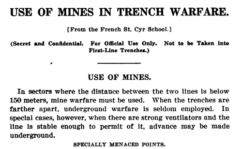 WWI Project Books online  mines in trench warfare