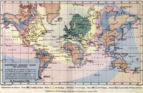 Maps isochronic galton 1881