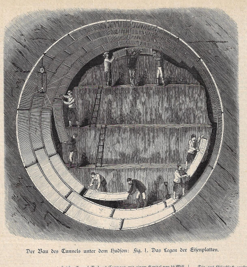 Cross section tunnel Hudson 1881
