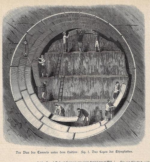 Cross section tunnel Hudson 1881