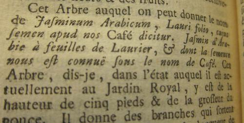 Academie science 1713 coffee
