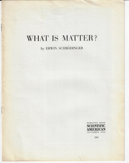 Schroedinger what is matter