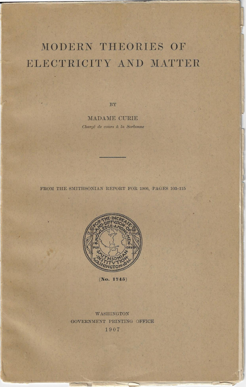 Curie Theories Smithsonian 1907