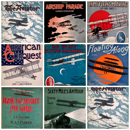 Aircraft sheet music collage