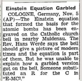 E=MC 1950 NYT