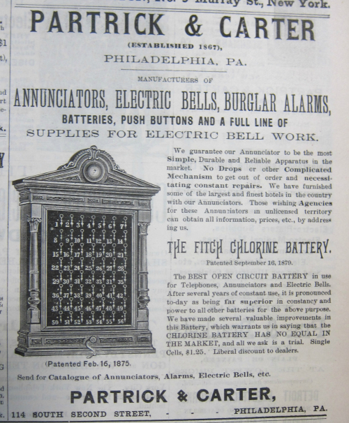 Electrical bell electrical world 1884