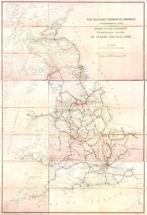 Telegraph map GB 1852