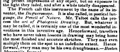 DAGUERRE mARCH 7 1839 iNTELLIGENCER