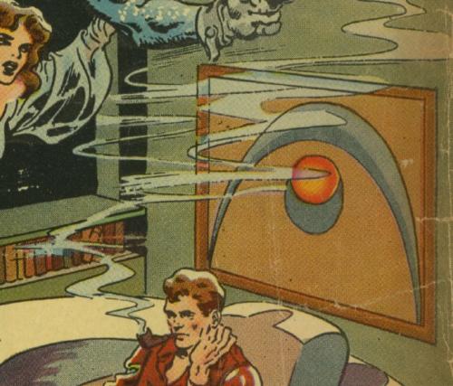 Artwork in comics--Opium Smugglers of Venus  Space detective #1 1951