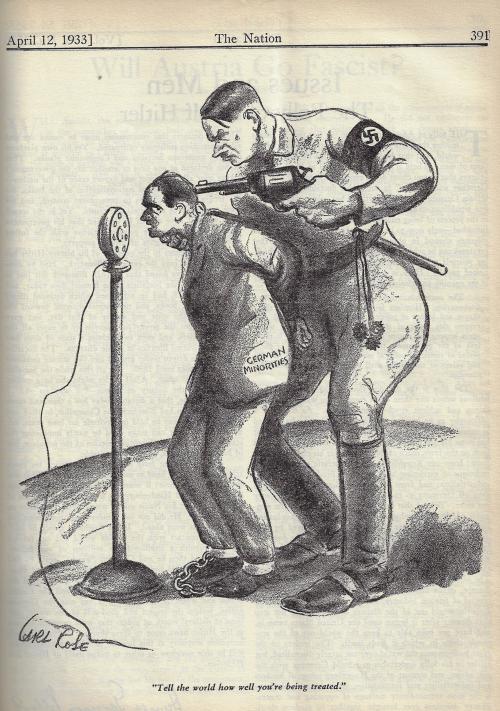 Nation 1933 Hitler minorities cartoon
