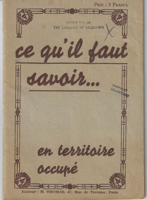 Books covers france occupied