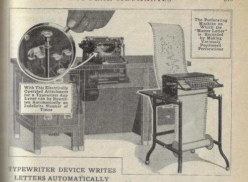 Pop Mech 1916 automatic typewriter