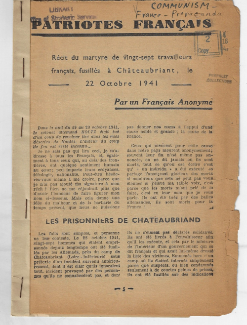 Books covers WWII french communist martyrs