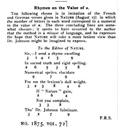 Nature 1905 Pi rhymes