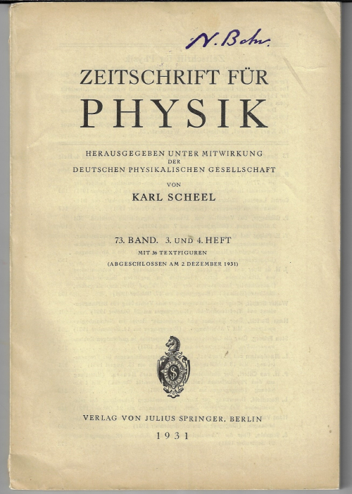Guttinger 1933 ZfP