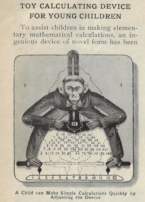 Pop Mech 1916 toy calculator monkey