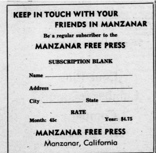 Manzanar ad for newspaper